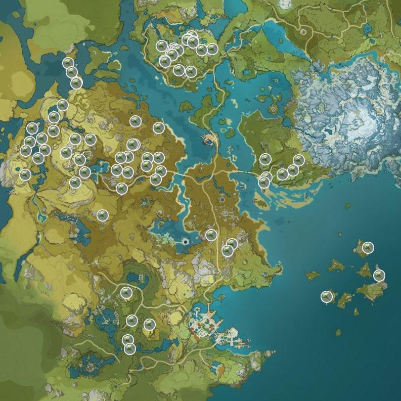 Цветок Цинсинь карта в Геншин Импакт