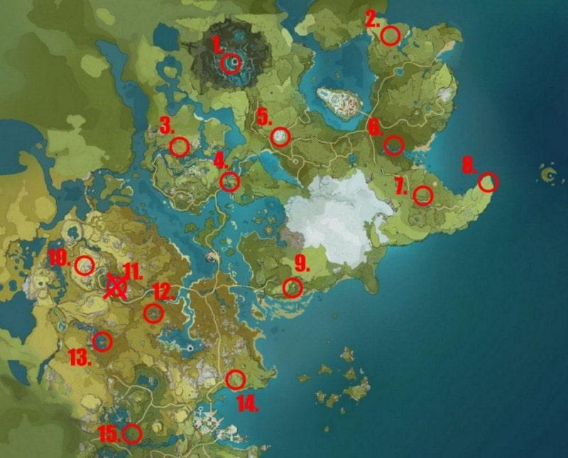 Карта расположения странных хиличурлов в Genshin Impact