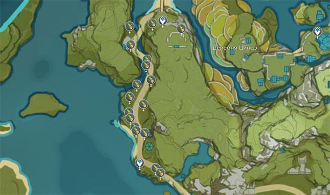 Расположение Бамбука в Геншин Импакт
