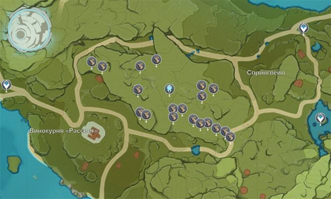 Расположение Берёзы в Геншин Импакт