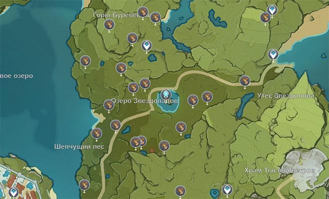 Расположение Цуйхуа в Геншин Импакт