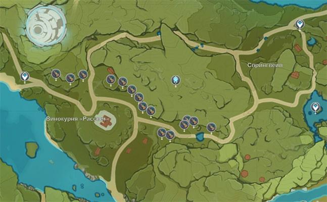 Расположение Пихты в Геншин Импакт